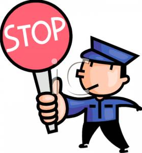 Traffic Control Officer with a Stop Sign Clip Art Image.