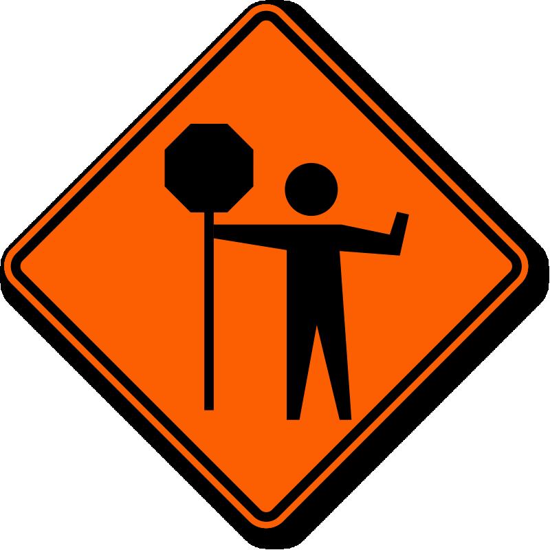 Warning Flagger Symbol Sign, SKU: K.