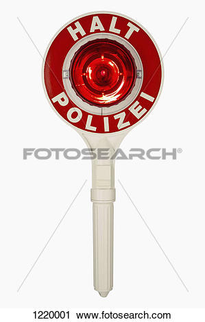 Stock Photography of A handheld police traffic control sign with.