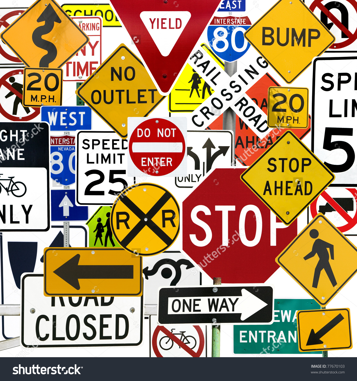 Montage Numerous Traffic Control Signs Signals Stock Photo.