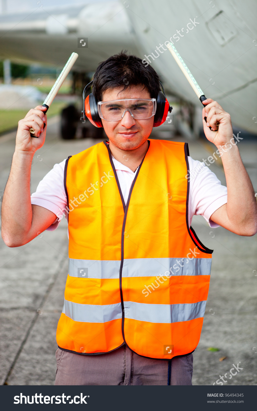 Air Traffic Controller Holding Light Signal Stock Photo 96494345.