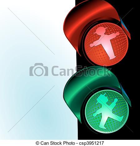 Vectors Illustration of traffic control signal, little man.
