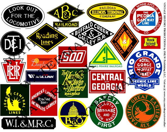 Railroad Stickers Train Logo Clip Art by RarePaperDetective.