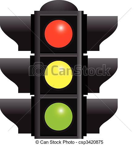 Clipart Vector of traffic lights isolated on white background.