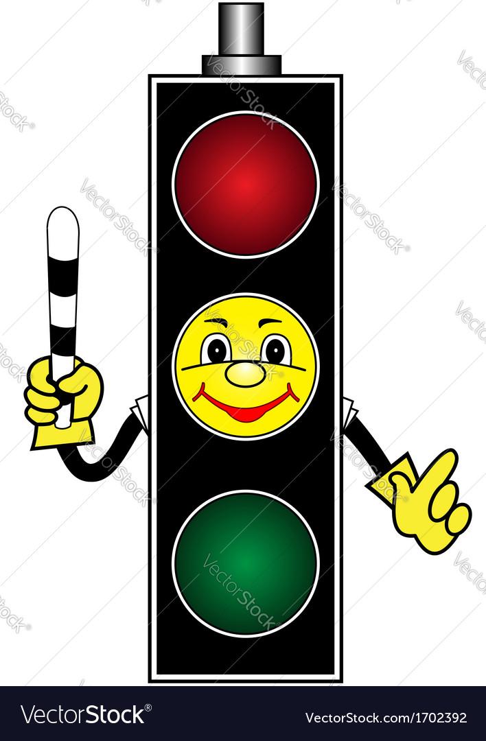 Cartoon yellow traffic light.