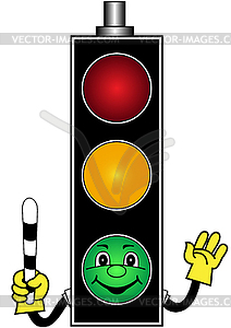 Cartoon green traffic light.