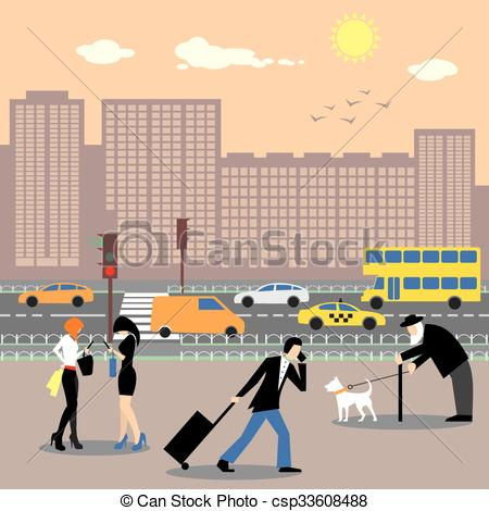 Vector of People in the city center. Busy traffic and skyscrapers.