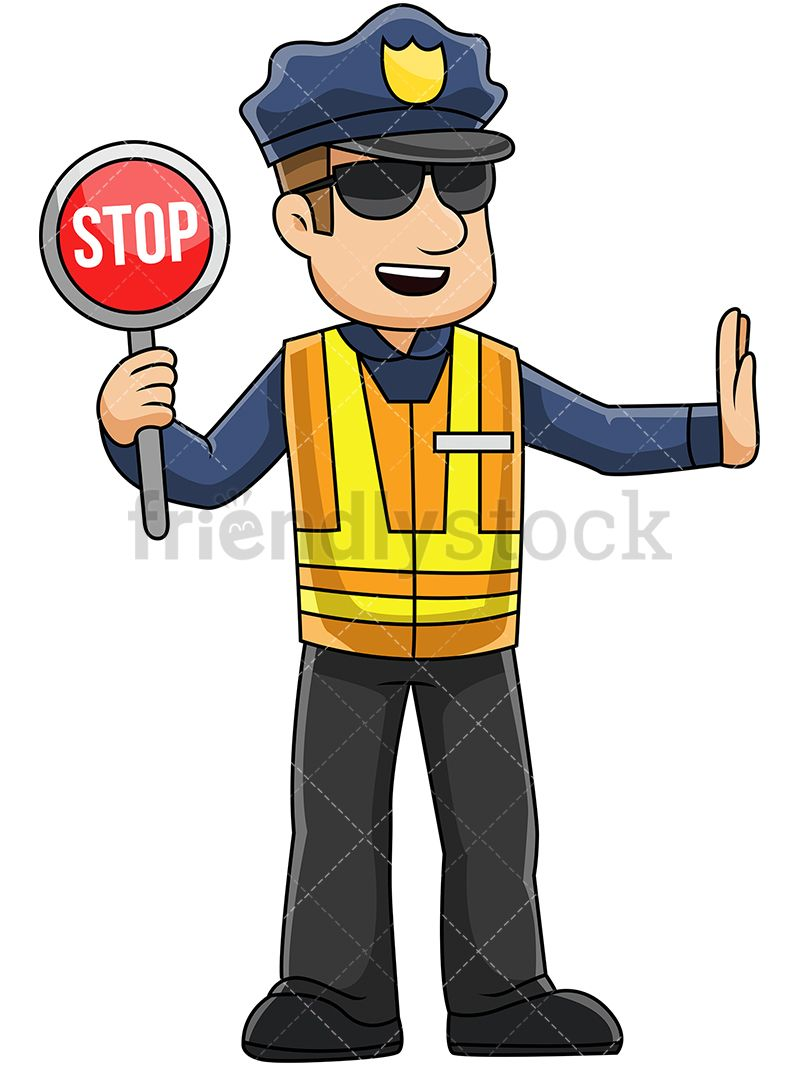 Male Police Officer Holding Stop Sign.