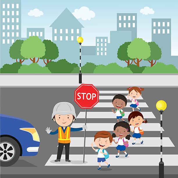 Crossing The Road Vector Art Illustration.