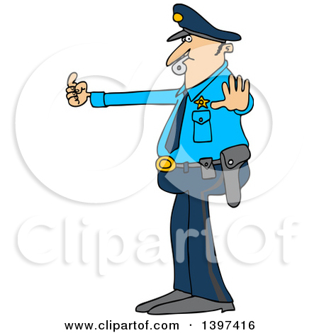 Clipart of a Cartoon Caucasian Male Police Officer Blowing a.