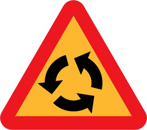 Roundabout traffic sign vector image.
