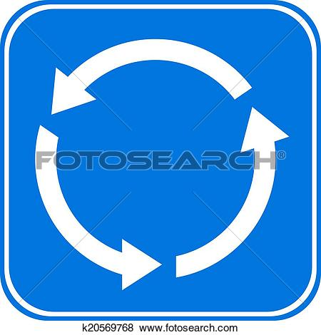 Clip Art of Roundabout crossroad road traffic sign k20569768.