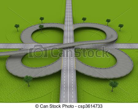 Drawings of Highway Traffic Roundabout on the Green Grass.