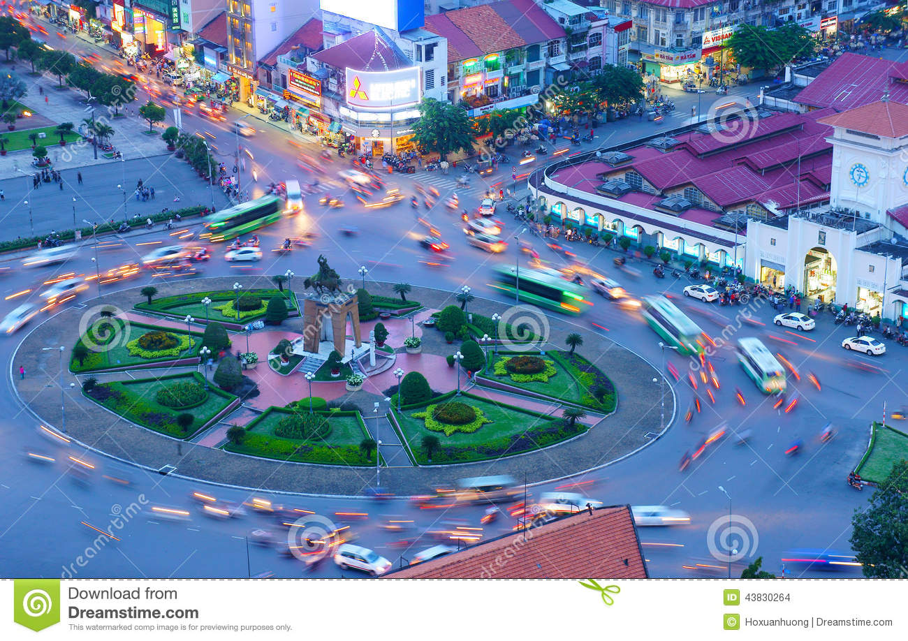 Asia Traffic, Roundabout, Ben Thanh Market Editorial Stock Image.