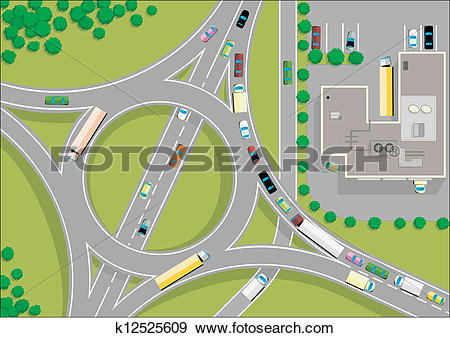 Clip Art of traffic roundabout k12525609.