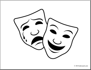 Tragedy comedy masks clipart.