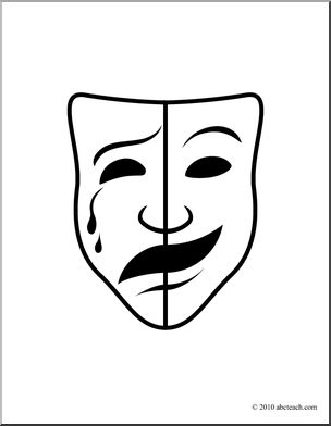 Clip Art: Comedy and Tragedy Masks 2 B&W 1.