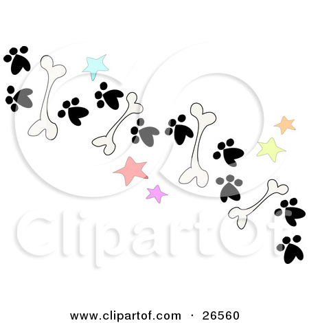 Clipart Illustration of a Trail Of Dog Bones, Stars And Paw Prints.