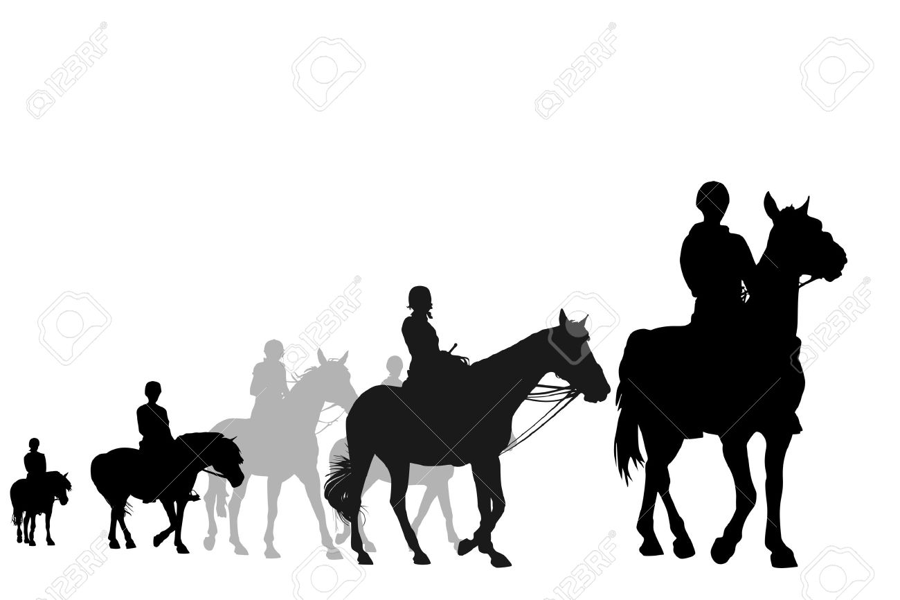 Illustration Of Teens On Horseback Riding Trip Royalty Free.