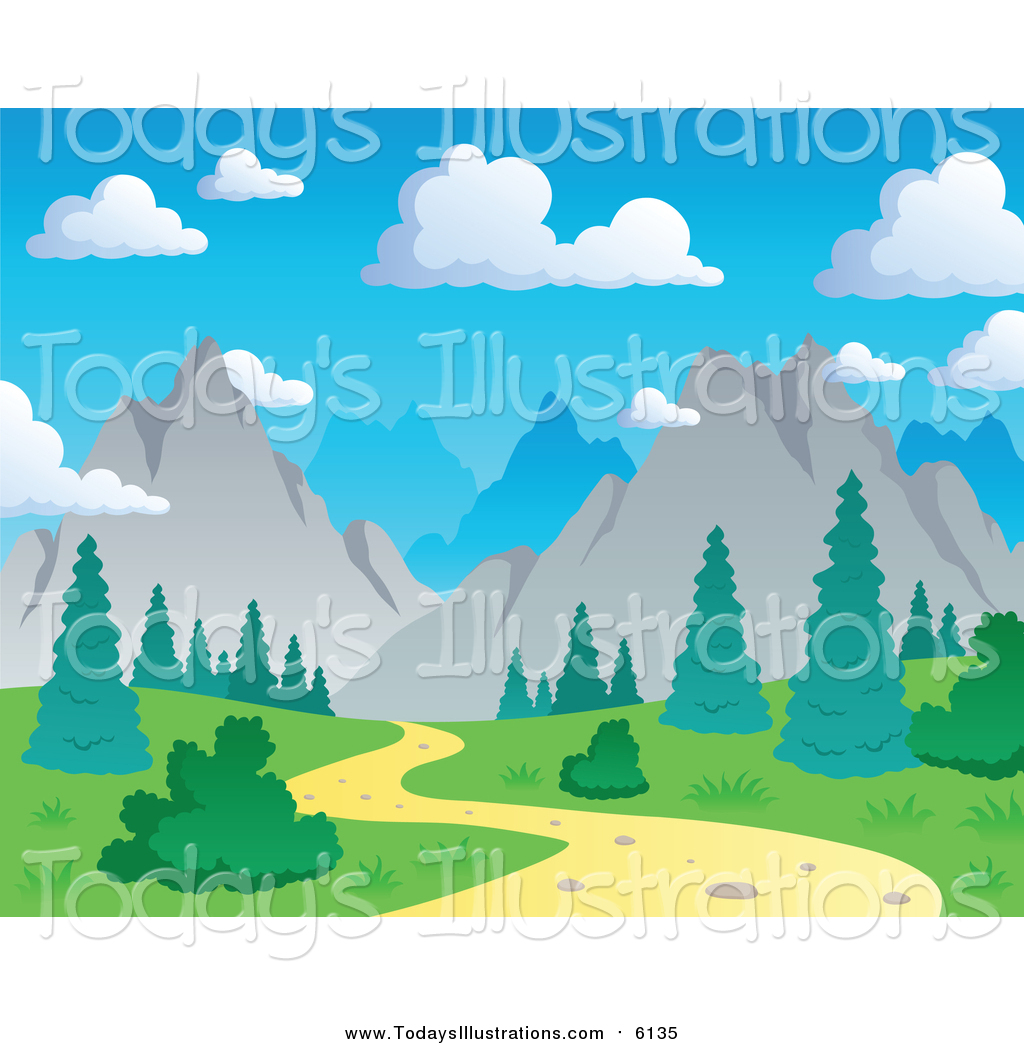 Clipart of a Trail and Summer Mountain Landscape by visekart.