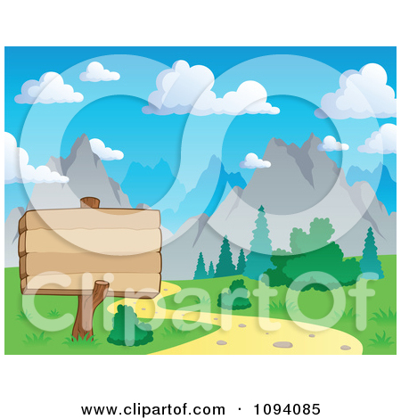 Clipart Wood Sign By A Nature Trail And Summer Mountain Landscape.