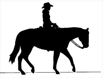 Cowboy on horse silhouette.