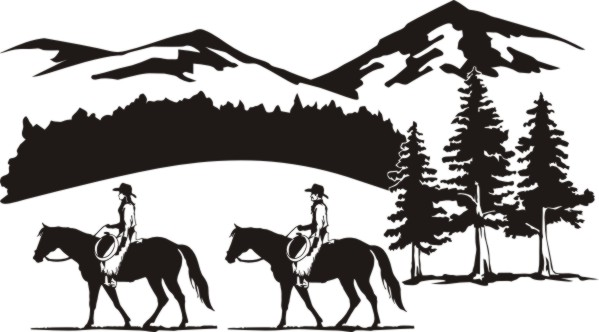 Western Trail Ride Clipart.