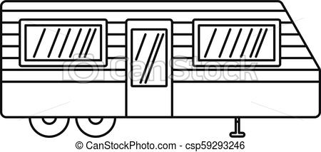 Trailer house icon, outline style.