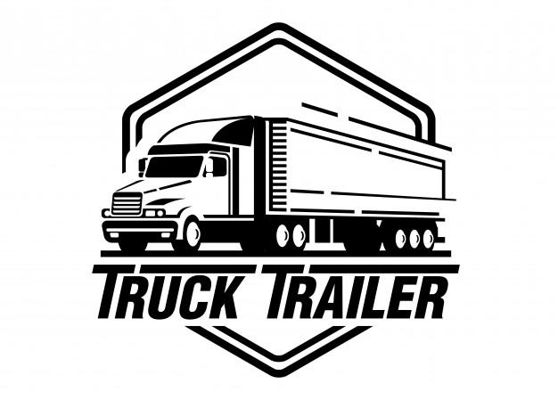 Truck trailer logo illustration on white background Vector.