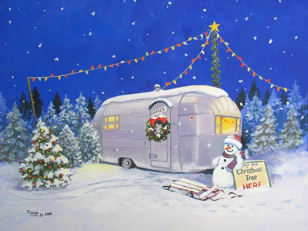 Christmas Airstream Vintage Travel Trailer Snowman ART.