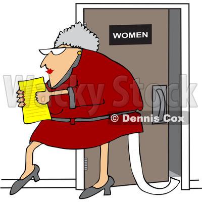 Free Vector Clip Art Illustration of a Senior Office Woman.