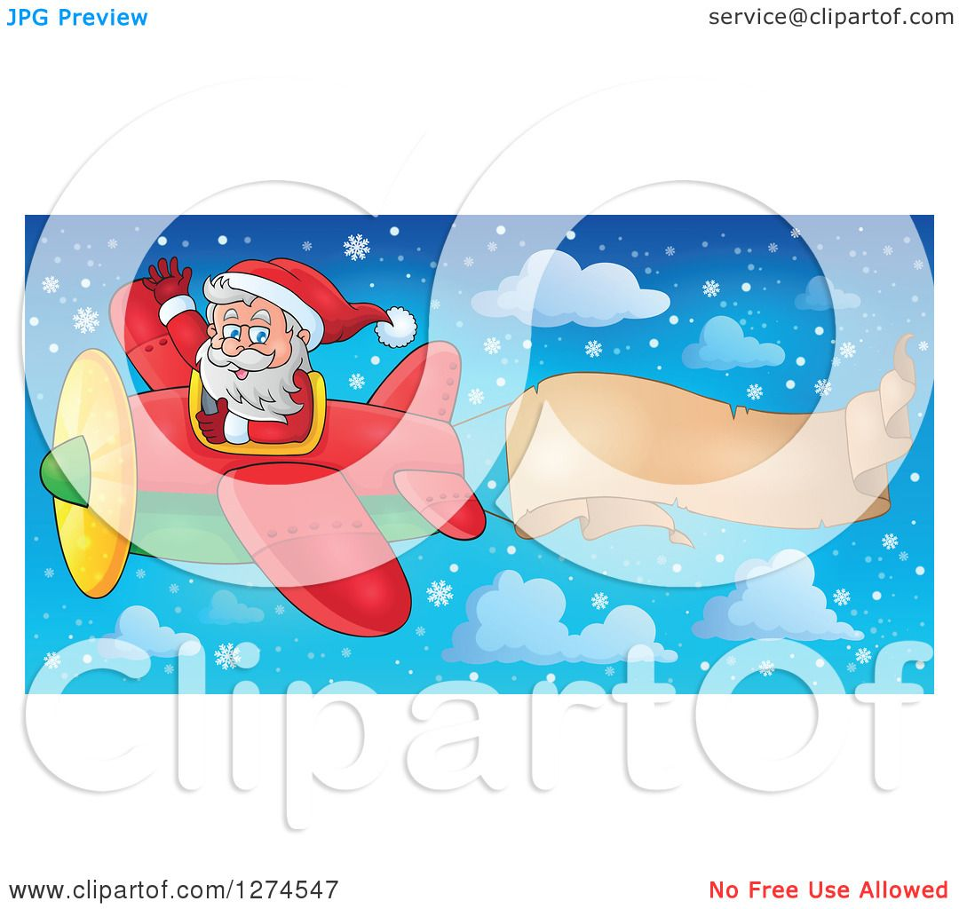 Clipart of a Christmas Santa Claus Flying a Plane and Waving with.