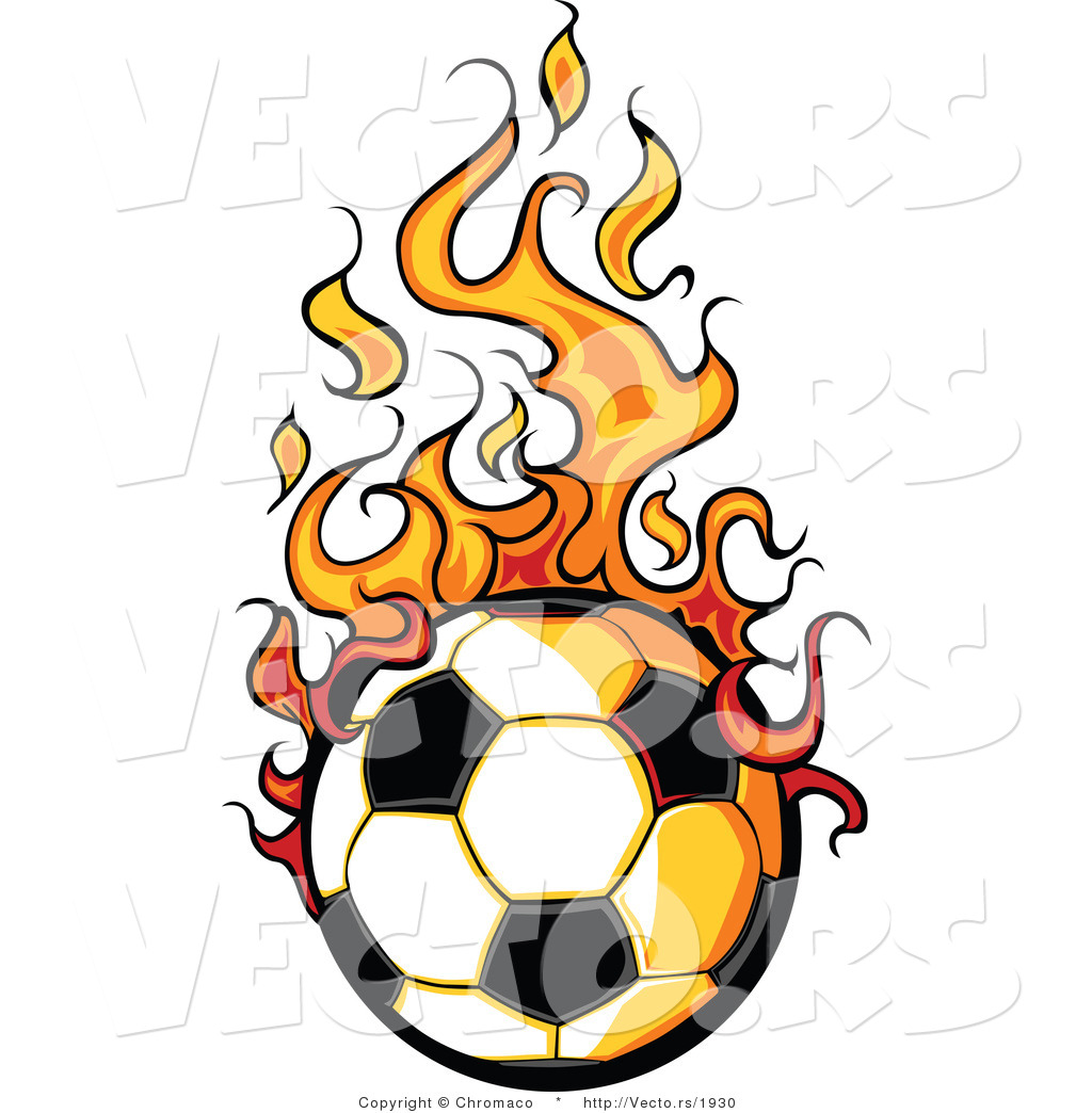 Vector of a Cartoon Soccer Ball with Trailing Flames by Chromaco.