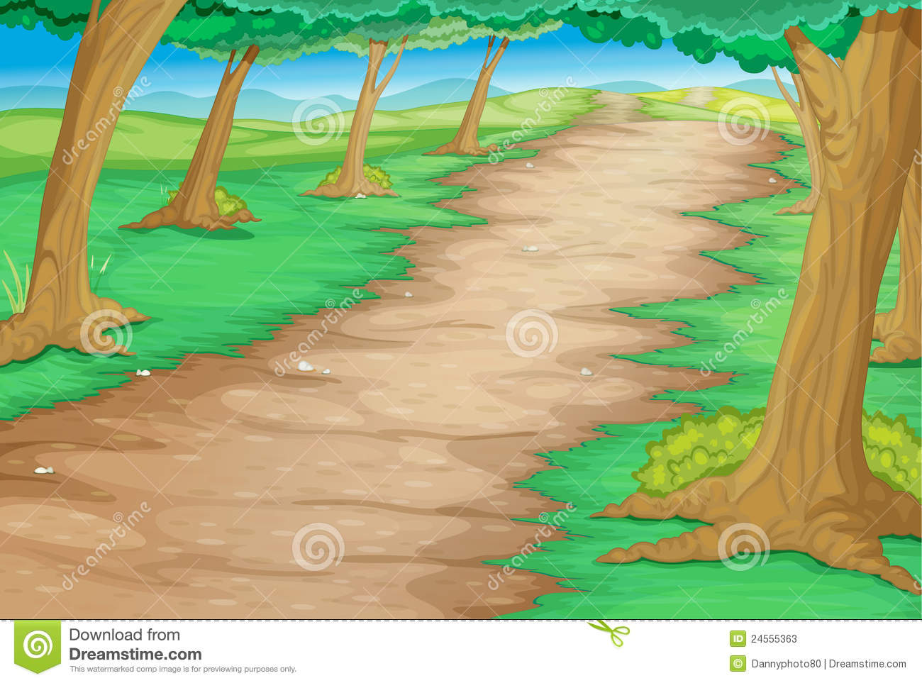 Colorful outline clipart of paths and trails.