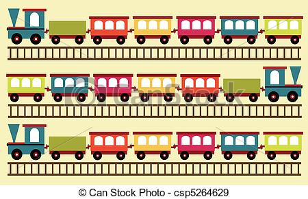 EPS Vectors of train pattern, toy background csp5264629.