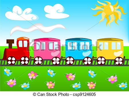 Clipart Vector of Cartoon illustration of train with landscape.