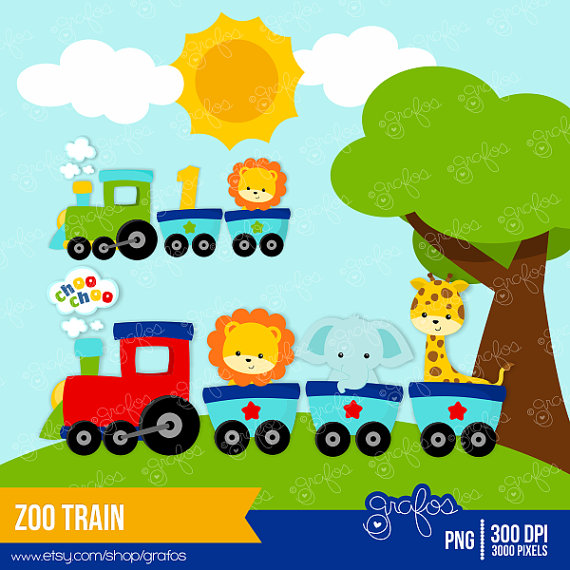 ZOO TRAIN Digital Clipart Train Clipart Zoo Clipart by grafos.