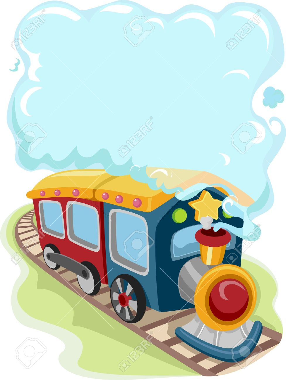 Illustration Of A Locomotive Train Toy Emitting Smoke For.