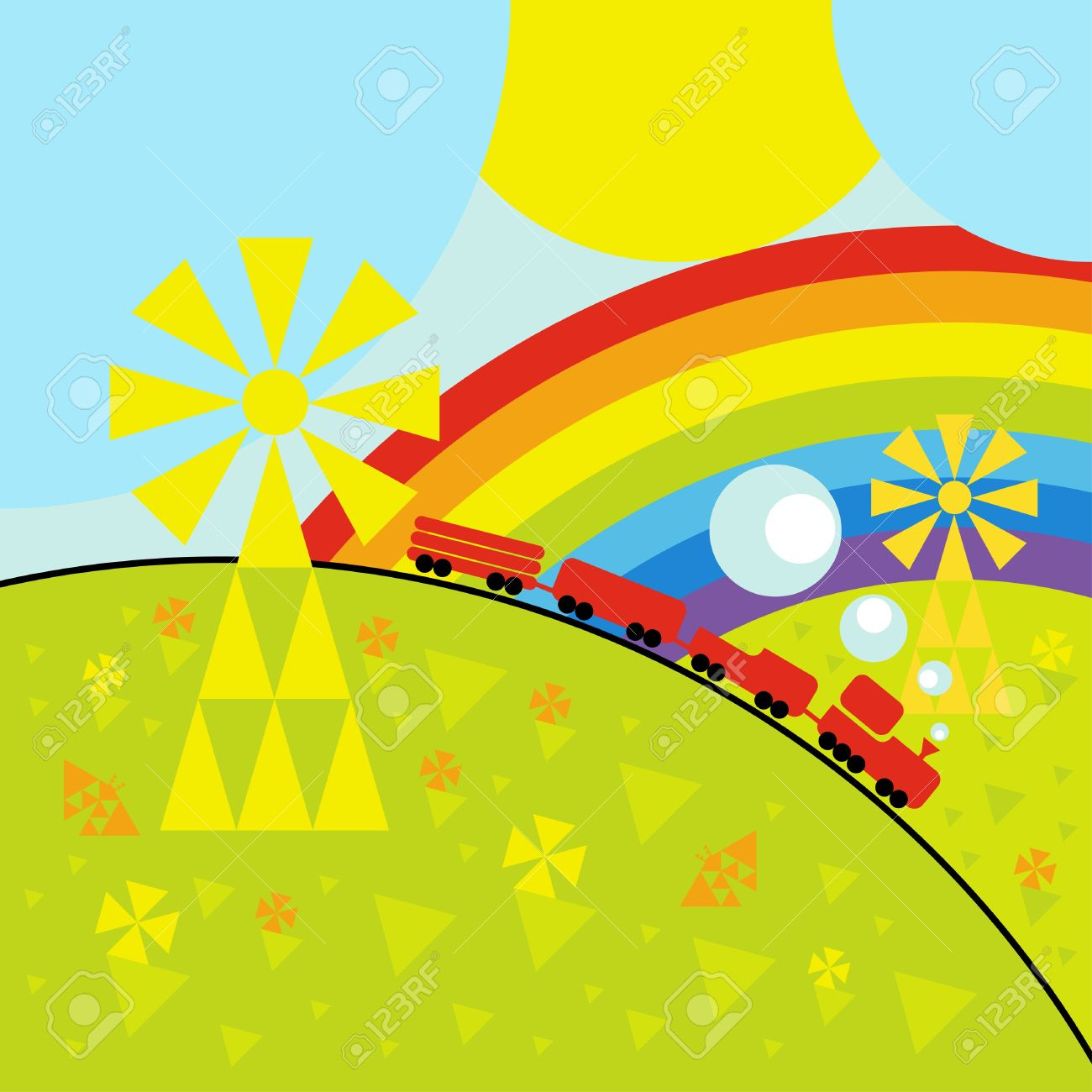 Animated Toy Train Background Illustration Royalty Free Cliparts.