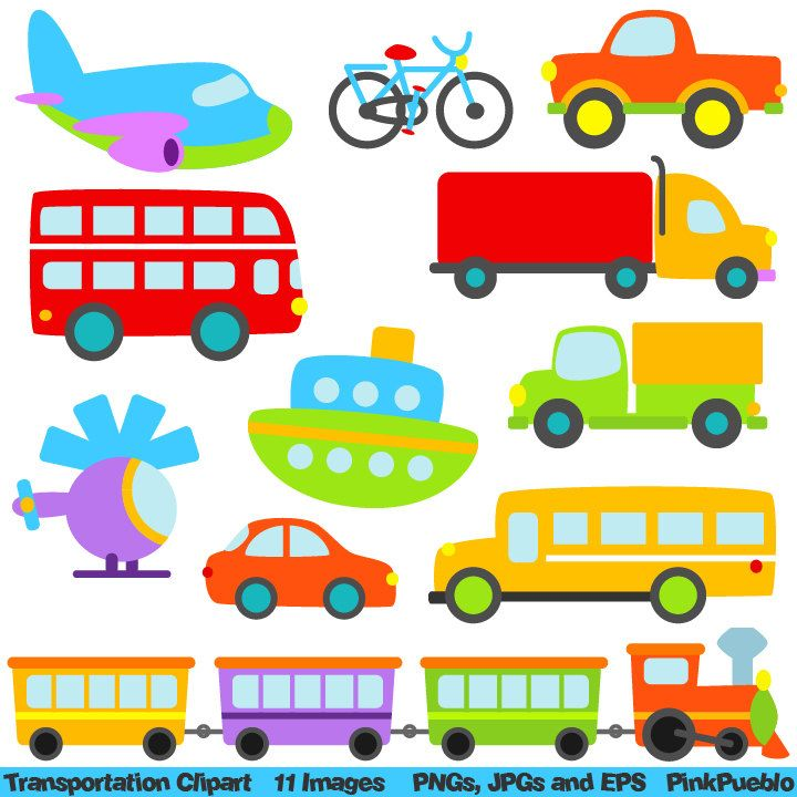 Transportation Clip Art Clipart with Car, Truck, Train.