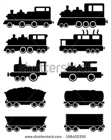 Set Black Train And Railroad Car Silhouette Stock Vector.