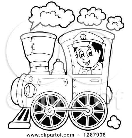 Clipart of a Black and White Happy Male Train Engineer Driving.