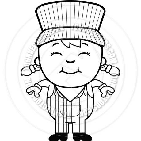 Girl Train Conductor (Black and White Line Art) by Cory Thoman.