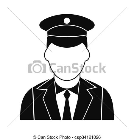Vector Illustration of Train conductor black simple icon isolated.