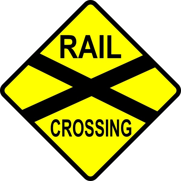 Caution Railroad Crossing clip art Free vector in Open office.
