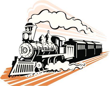 Line Art Graphic of steam train emerging from a tunnel in.