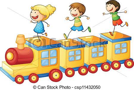 Clipart Vector of Kids on a Rainbow Train 2.