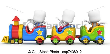 Clip Art of Kids on a Train.
