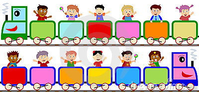Kids On Train Banners Royalty Free Stock Photos.