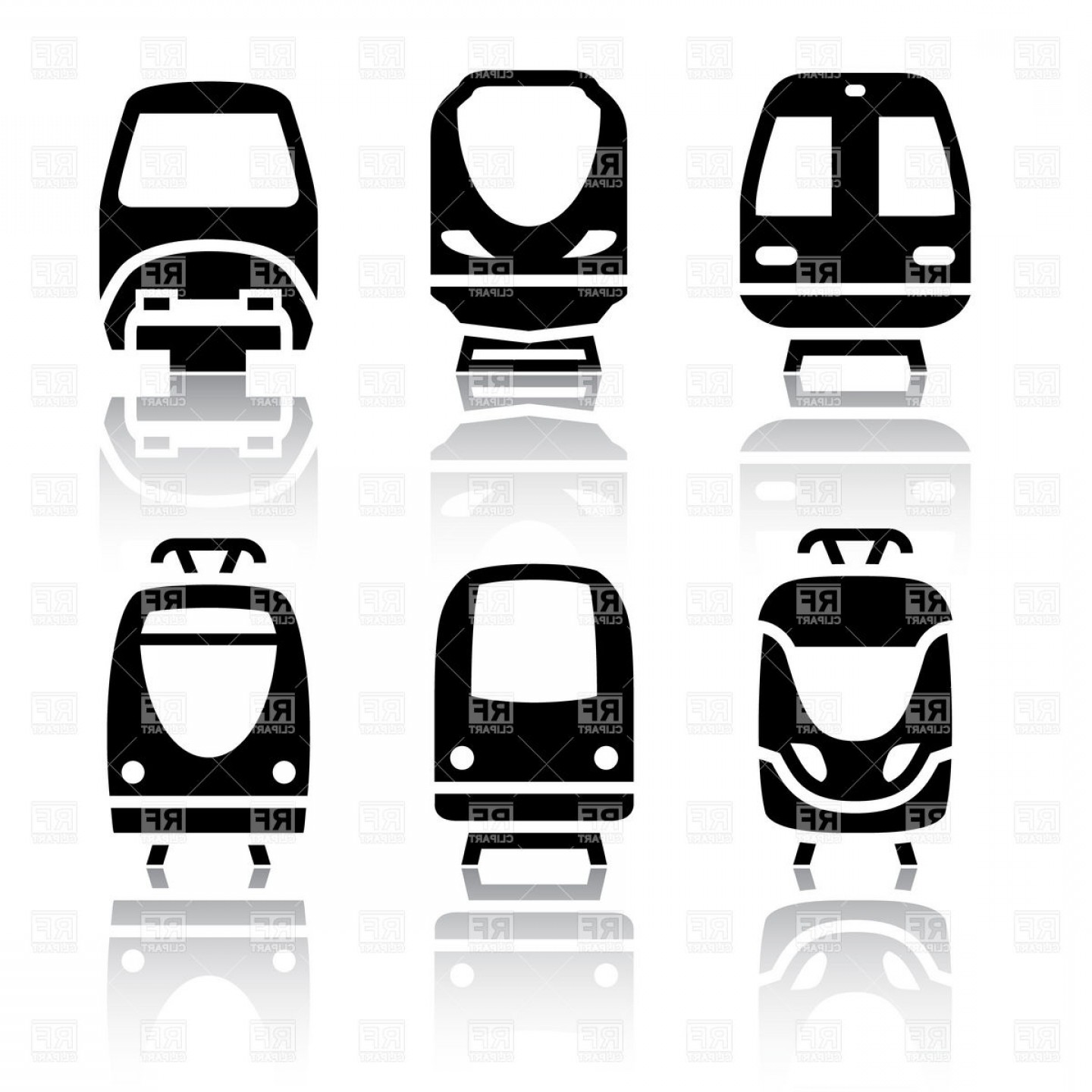 Railway Public Transport Train And Tram Icons Front View.